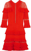 Elie Saab Lace-paneled Ruffled Stretch-knit Mini Dress - Orange