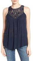 Lucky Brand Women's Crochet Yoke Tank