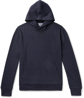 Brunello Cucinelli Pinstriped Cashmere And Cotton-Blend Hoodie