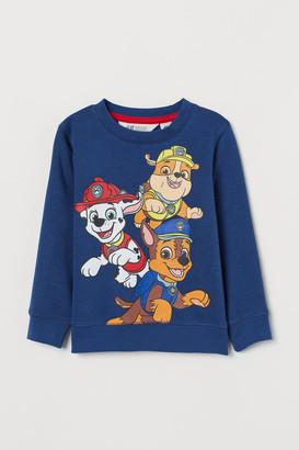 H&M Sweatshirt with Printed Design - Blue