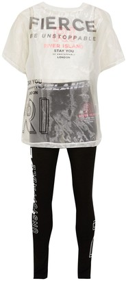 River Island Girls 2 Piece Active T-Shirt and Leggings Set - Black/White