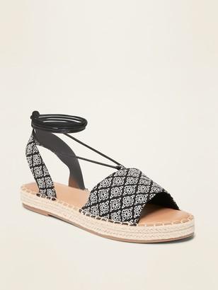 Old Navy Lace-Up Espadrille Flatform Sandals for Women
