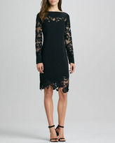 Diane von Furstenberg Ernestina Lace-Trim Long-Sleeve Dress