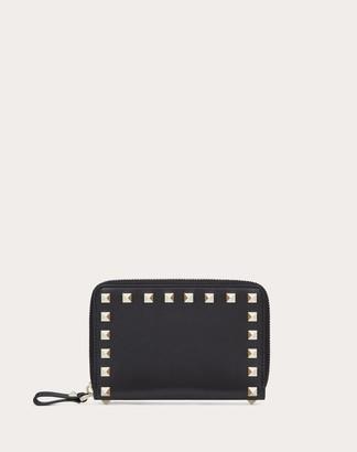 Valentino Rockstud Zippered Wallet Women Black Calfskin 100% OneSize