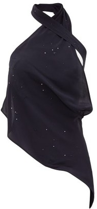 Ludovic de Saint Sernin Swan Halterneck Crystal-embellished Satin Top - Dark Navy