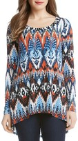 Karen Kane Ikat Print High/Low Top