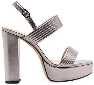 Alexandre Birman Veronica Quilted Metallic Leather Platform Sandals