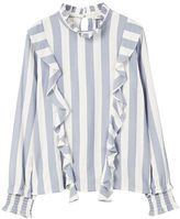 MANGO Ruffled Stripe-Patterned Blouse
