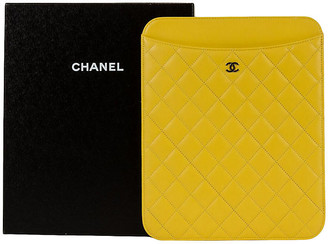 One Kings Lane Vintage Chanel Yellow Lambskin iPad Cover - Vintage Lux
