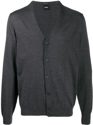 HUGO BOSS Rib-Trimmed Virgin Wool Cardigan
