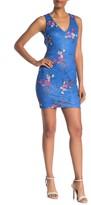 GUESS Floral Lace Back Cutout Bodycon Dress