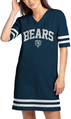 Junk Food Clothing Unbranded Women's Navy Chicago Bears Half-Sleeve V-Neck Dress