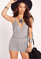 Missguided Jersey Wrap Romper Grey