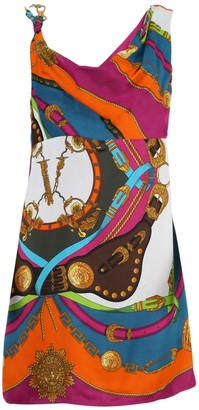 Versace Multicolored Barocco Print Mini Dress