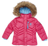 U.S. Polo Assn. Shocking Fuchsia Hooded Puffer Jacket - Toddler & Girls