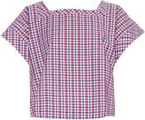 Stella Jean Impiantista gingham square-neck cotton top