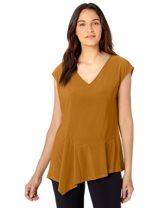 Chaus Women's S/S Asymmetrical V-Neck Top