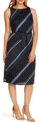 Vince Camuto Diagonal Stripe Midi Dress