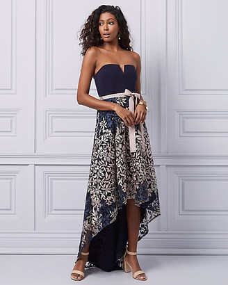 Le Château Embroidered Knit High-Low Strapless Gown