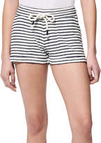 Andrew Marc Women's Casual Shorts Midnight/White - Midnight & White Stripe Fleece Drawstring Shorts - Women