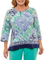 Alfred Dunner Montego Bay 3/4 Sleeve Patchwork T-Shirt- Plus