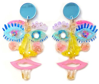 Boo And Boo Factory Pastel Clear Acrylic Face Statement Earrings