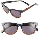 Shwood Women's 'Prescott' 52Mm Acetate & Wood Polarized Sunglasses - Skyline/ Mahogany/ Silver