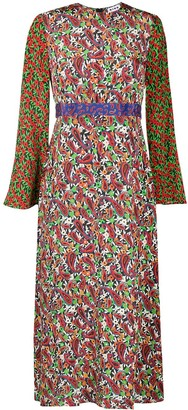 Rixo Mixed Print Silk Dress