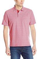 Izod Men's Short Sleeve Chatham Clique Self Collar Stripe Polo