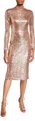 Theia Love, Sequin Mock-Neck Long-Sleeve Sheath Dress