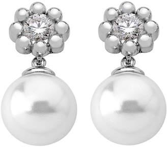Majorica Cubic Zirconia Flower & Pearly Drop Earrings