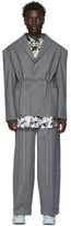 Eckhaus Latta Grey Pinstripe Blazer