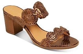 Jack Rogers Women's Lauren Snake-Embossed Block Heel Sandals