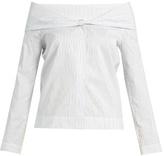Isa Arfen Pinstriped off-the-shoulder cotton-blend top