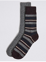 M&S Collection 2 Pairs of Striped Socks