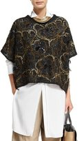 Brunello Cucinelli Embroidered Oversized Short-Sleeve Sweater, Black