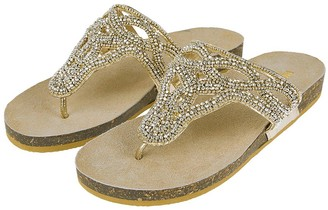 Monsoon Flora Embellished Footbed Sandal - Gold