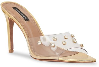 BCBGMAXAZRIA Dana Swarovski Crystal Translucent Mule Sandals