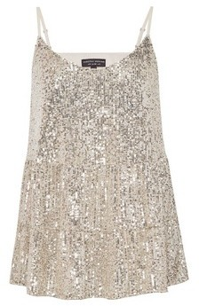 Dorothy Perkins Womens Silver Tiered Sequin Camisole, Silver
