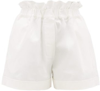 story. White Como Paperbag-waist Cotton Shorts - Womens - White