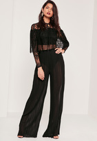 Missguided Sheer Chiffon Pleated Wide Leg Trousers Black
