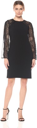 Alex Evenings Women's Short Shift Dress with Illusion Bell Sleeves