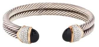 David Yurman Onyx & Diamond Double Cable Cuff