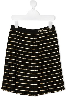 Pinko Kids Metallic-Striped Fluted Skirt