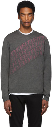 Fendi Grey and Pink Wool Forever Asymmetric Logo Sweater