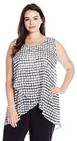 NY Collection Women's Plus Size Printed Sleeveless Scoop Neck Wrap Front Top