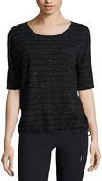 Liz Claiborne Elbow Sleeve Crew Neck Stripe T-Shirt-Womens