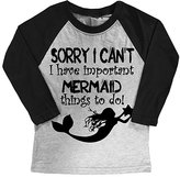 Micro Me Gray & Black 'Mermaid Things To Do' Raglan Tee - Toddler & Girls