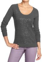 Old Navy Women's Sequined Scoop-Neck Sweaters