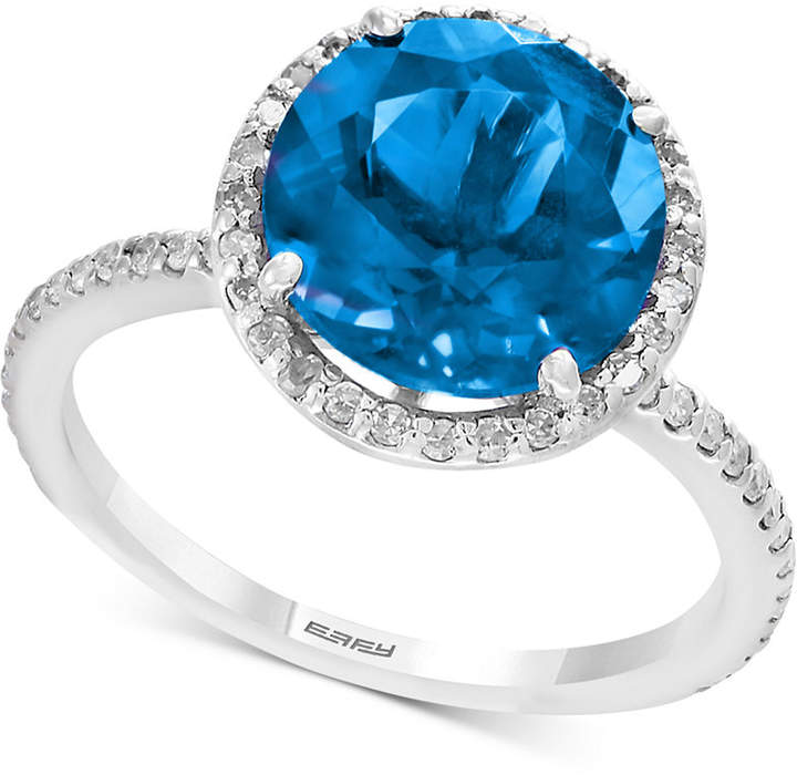 Effy Final Call by Blue Topaz (4-1/8 ct. t.w.) & Diamond (1/4 ct. t.w.) Ring in Sterling Silver